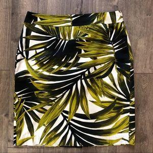 Ann Taylor tropical palm pencil skirt size 10